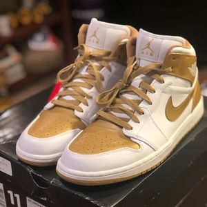 White and gold air jordan 1 phat